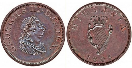 "1805 Ireland George III ""Soho Coinage"" copper halfpenny, Laureate and draped bust facing right"