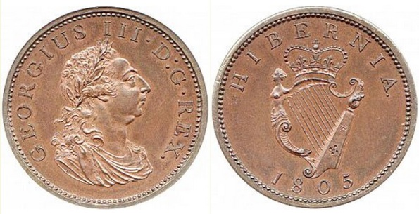 "1805 Ireland George III ""Soho Coinage"" copper penny, Laureate and draped bust facing right"