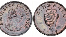 1806 Ireland George III copper farthing, Laureate and draped bust facing right