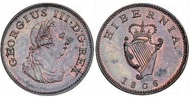"1806 Ireland George III ""Soho Coinage"" copper farthing, Laureate and draped bust facing right"