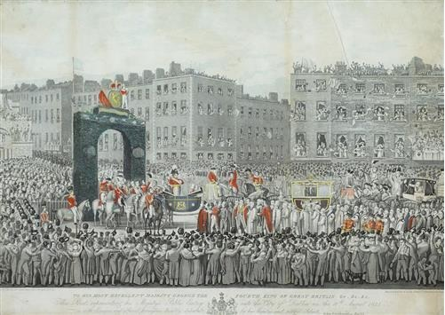 "1821 ""Public Entry Into the City of Dublin"" of George IV. After J. Haverty engraved by R. Havell & Son, Chapel Street, Tottenham Court Road. The Royal procession on Sackville Street, 17th August 1821."