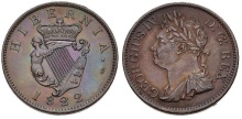 1822 Ireland copper halfpenny (George IV), Laureate and draped bust facing left