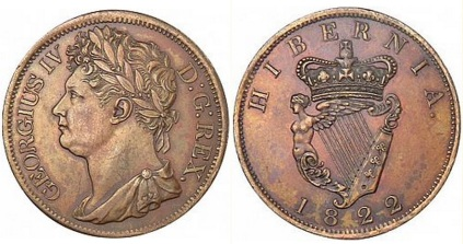 1822 Ireland copper penny (George IV), Laureate and draped bust facing left