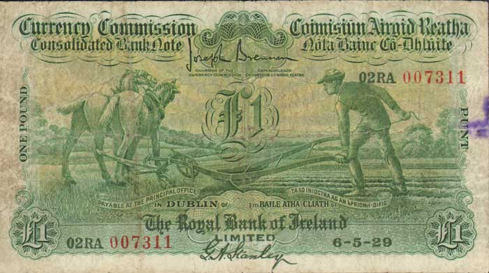 "£1 Royal Bank of Ireland ""Ploughman"" note, dated 06 May 1929 - how much are old Irish banknotes worth?"