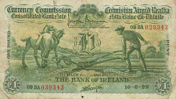 "£1 Bank of Ireland ""Ploughman"" note, dated 10 June 1929"