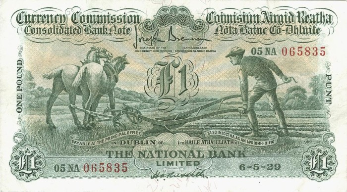 "£1 National Bank ""Ploughman"" note, dated 06 May 1929 - how much are old Irish banknotes worth?"