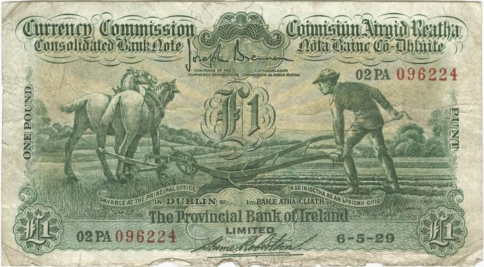 "£1 Provincial Bank of Ireland ""Ploughman"" note, dated 06 May 1929 - how much are old Irish banknotes worth?"