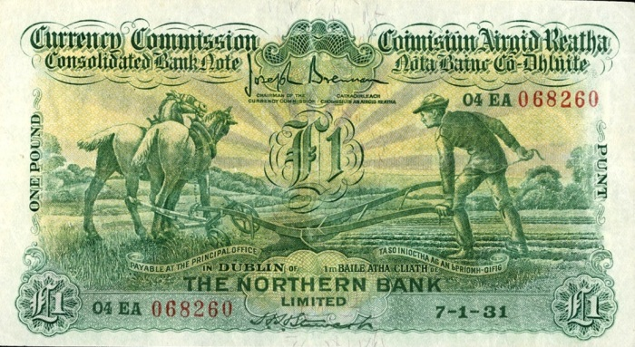 "£1 Northern Bank ""Ploughman"" note, dated 07 January 1931 - how much are old Irish banknotes worth?"