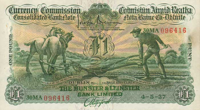 "£1 Munster & Leinster Bank ""Ploughman"" note, dated 04 May 1937 - how much are Irish banknotes worth?"