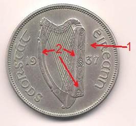Fake 1937 Irish halfcrown (obverse)