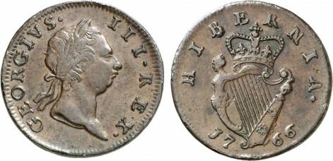 George III, 1760-1820. Halfpenny 1766