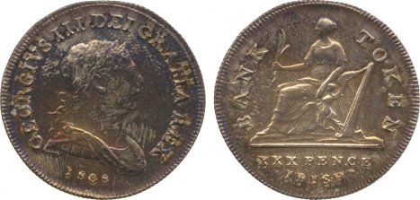 George III, Bank of Ireland , 30 pence token, 1808