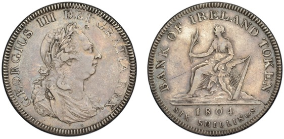 George III, Bank of Ireland coinage, Six Shillings, 1804, wide initials, first leaf to upright in e in dei (S 6615)