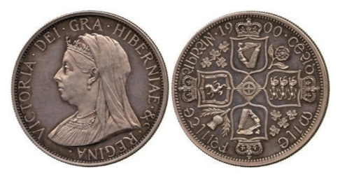 Victoria, Pattern Double Florin, 1900, struck in silver for Reginald Huth by John Pinches