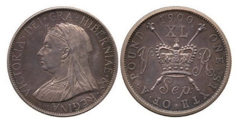Victoria, Pattern Forty Pence, September 1900, struck in silver for Reginald Huth