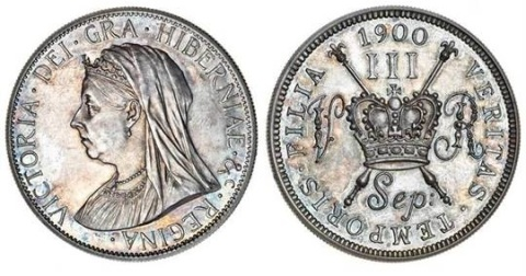 Victoria pattern Three-Shillings, 1900, 17.00g, by Reginald Huth