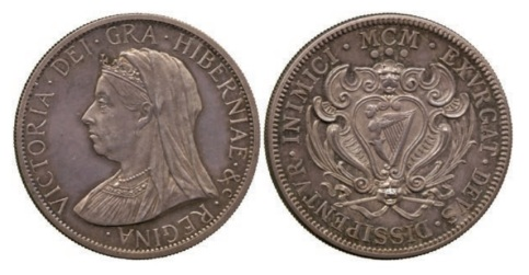 Victoria Pattern Three Shillings, 1900, struck in silver for Reginald Huth