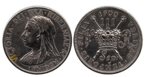 Victoria Pattern Three Shillings, September 1900, struck in steel