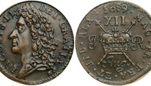 1689 Aug, with stop. James II, Gunmoney. Large size. Laureate head left. Reverse XII over crown. Usual surface porosity