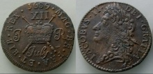 1689 James II, Gunmoney shilling, large size, July + full stop