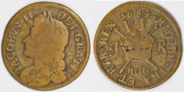 Gunmoney coinage, Sixpence, 1689 July + full stop