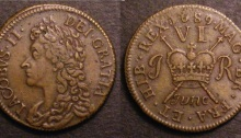 Gunmoney coinage, Sixpence, 1689 June + full stop (1)