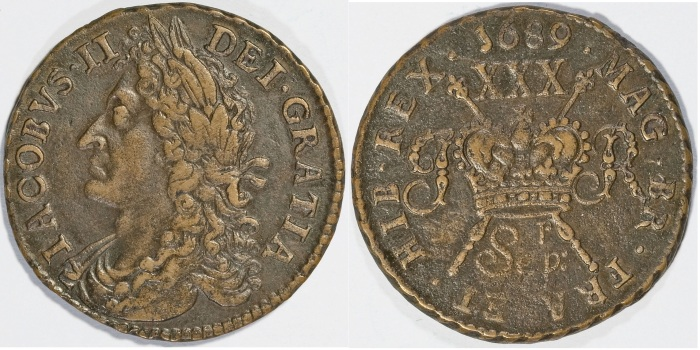 1689 James II gunmoney halfcrown, Sep ('r' above) +full colon (1)