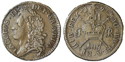 James II, Gunmoney Shilling, large size, 1689 Augt, with 't' above (to the right of 'g') + full stop. This die variation has the 't' in Augt much closer to the sceptre.  Laureate head left. Reverse XII over crown