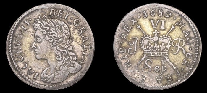 1689 Large size Proof Sixpence, Sepr, with 'r' above 'p' in Sep, James press, pearled bands on crown