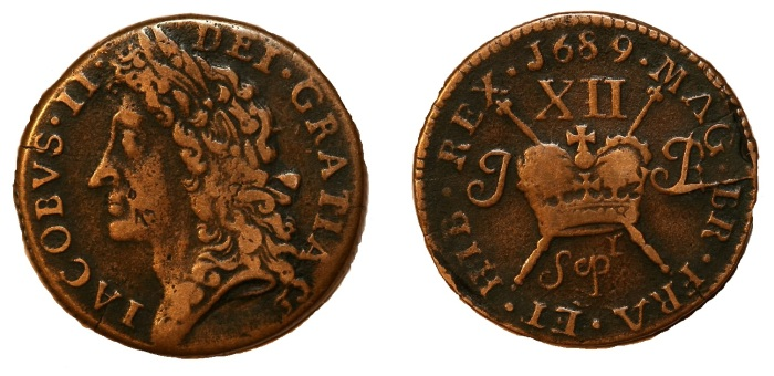 1689 Large size shilling. Sepr, with 'r' above and to the right of 'p' in Sep, very fine