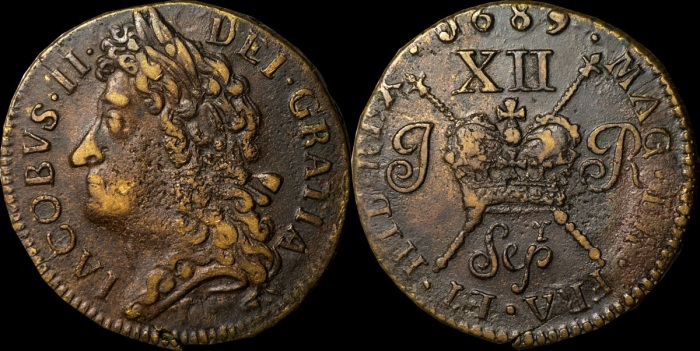 1689 Large size shilling. Sepr, with 'r' above 'p' in Sep, very fine