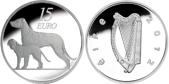 Ireland 2012 proof coin - dogs (Irish Wolfhound)