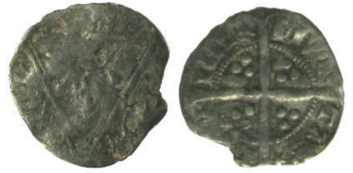 A very worn 14th-century debased silver medieval Irish halfpenny of Edward III, 1339-1340 coinage, struck at Dublin mint (Spink 6269)
