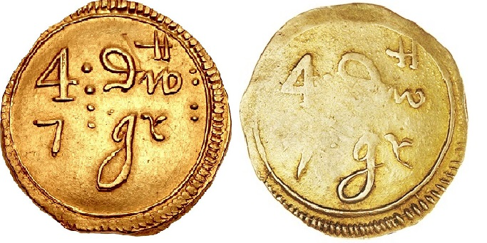 Duke of Ormonde's gold coinage of 1646-7, Double Pistole, Dublin, two different dies