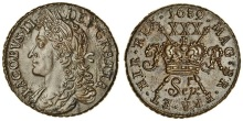 Gunmoney, Large Halfcrown, 1689 Sepr + full colon, with 'r' above - between e and p (DF 379; S.6579D)