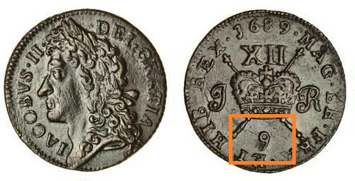 Ireland, James II Large Shilling Gunmoney, 1689 (December) - the 9th month of the Julian year