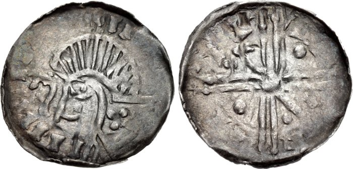 Hiberno-Norse Penny Phase VI coinage, Long Cross type Uncertain mint signature and moneyer