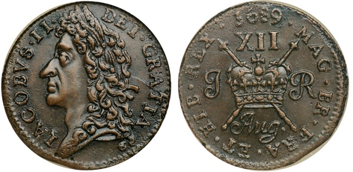 Ireland. Large Shilling, August 1689. James II Gunmoney