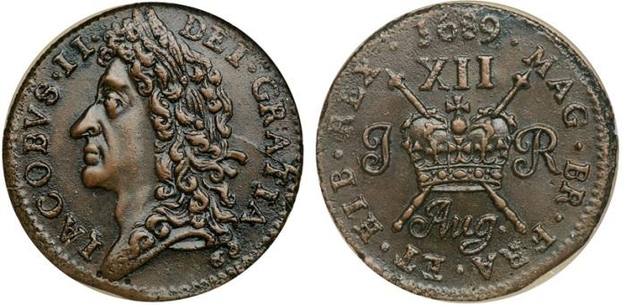Ireland. Large Shilling, August 1689. James II Gunmoney