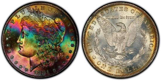 A beautiful 'toned' Morgan dollar from the USA but is it circulated or uncirculated? And, is this coin more valuable as a 'toned' item or uncirculated?