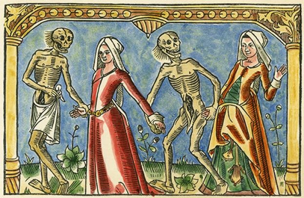 Two women do the 'dance of death' in a 15th‑century woodcut. The grim reaper of the plague (Black Death) stalked Europe for centuries