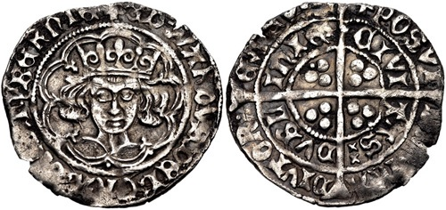 IRELAND. Edward IV. First reign, 1461-1470. AR Groat (26mm, 2.40 g, 1h). Heavy 'Cross and Pellets' coinage. Dublin mint; im: pierced cross fitchy. Struck 1465. + ЄDWΛRDVS : DЄI : GRΛ : DnS : ҺУBЄRnIЄ (double saltire stops), crowned facing bust within tressure of arches, with inward facing lis on cusps, pellets in three lower spandrels / + POSVI [DЄV]m : Λ DIVTOR • Є mЄVm/ CIVI TΛS DVBL InIЄ (pellet and double saltire stops), long cross pattée with trefoils in angles, additional pellets in second and third angles. SCBI 22 (Copenhagen), –; D&F 133; SCBC 6291. VF, toned, edge splits.