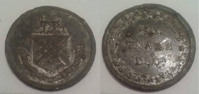 Galway, Ballyglunin Estate (M I Blake) truck token in white metal -no denomination.