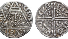 Ireland. Henry III (1216-1272) AR Penny. Dublin, c. 1251-1254. Һ(ЄNR)I CVS R ЄX III, crowned facing bust, holding sceptre; cinquefoil to right; all within triangle / RIC (AR)D O(N D) IVЄ, voided long cross, with trefoil in each angle. SCBI 10, Belfast 438-64; S 6236. 1.41g, 18mm, 4h.