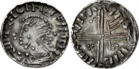Hiberno-Norse. Circa 1055/60-1065. AR Penny (17mm, 1.06 g, 3h). Phase IV ('scratched die') coinage, Long Cross type. Uncertain mint signature and moneyer. + IIII+IRIIONIIIOIIIO, draped bust left; numerous pellets around / IMI IIIL IIIIR IIIM, voided long cross, with triple crescent ends; two pellets in first quarter, 'hand' symbol in second, trefoil of pellets in third, X and two pellets in fourth. O`S 22; SCBI 32 (Ulster), 310-5; D&F 25; SCBC 6134. VF, toned