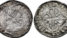 Hiberno-Norse. Circa 1110-1150. Silver Penny (20mm, 0.83 g). Phase VII (semi-bracteate) coinage, 'Scrabo' with Quatrefoil type. Uncertain mint signature and moneyer. Bust left / · quatrefoil over long cross. O`S 65; SCBI 8 (BM) 251–2; D&F 33; SCBC 6191