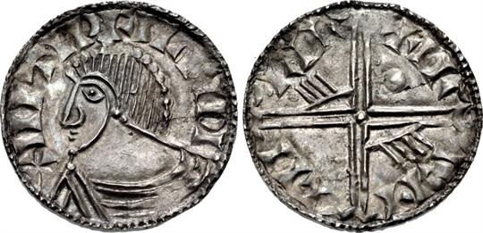 Hiberno-Norse. Circa 1035-1055/60. AR Penny (17.5mm, 0.86 g, 7h). Phase III coinage, Long Cross type. Uncertain mint signature and moneyer. +IIITIDFILFIDI, draped bust left / +I- I·-I-I LII LII, voided long cross, with triple crescent ends; pellet in first quarter, 'hand' symbols in second and third quarters. O`S –; SCBI 22 (Copenhagen), 188 (same dies); D&F 24; SCBC 6132. Superb EF, toned, thin flan crack