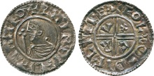 IRELAND, Hiberno-Norse Kings, Sihtric Anlafsson, Phase One (c.995-1020), Silver Penny, Dublin mint, moneyer Eole, imitation of Aethelred II CRVX type, draped bust with sceptre left, linear circle and legend surrounding with outer beaded circle, retrograde S at start of legend, SHIR DIFLI DIFLIMEO, rev voided cross within linear circle, letters C R V X in each angle, legend surrounding, + EOLE O- DIFLIME:, 1.43g (SCBI 9:12; DF 1; S 6100).