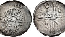 Hiberno-Norse. Circa 1095/1100-1150. AR Penny (18mm, 0.46 g). Phase VI coinage, Long Cross type. Uncertain mint signature and moneyer. Bust left; croizer before, quatrefoil on neck / Voided long cross; pellets and scepters in opposite quarters. O`S 22; SCBI 8 (BM), 366-75; D&F 32; SCBC 6187. Good VF, toned