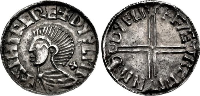 Hiberno-Norse. Sihtric III Olafsson. Circa 995-1036. AR Penny (19mm, 1.34 g, 9h). Phase II coinage, Long Cross type. Difelin (Dublin) mint; 'Faeremin', moneyer. Struck circa 1015-1035. Draped bust left; cross pattée behind neck / + FÆ REMI N MΘ DУFLI, voided long cross, with triple crescent ends; pellet in third quarter. Cf. O'S 10; cf. SCBI 32 (Ulster), 49-57; cf. SCBI 8 (BM), 64-6; D&F 23; SCBC 6122. Near EF, toned